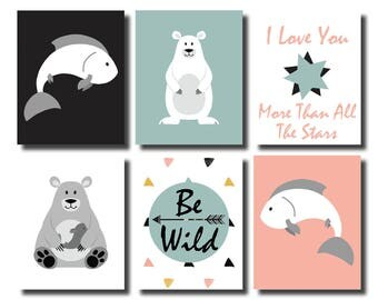 Polar Bear Nursery, Polar Bear Art, Polar Bear Prints,Woodland Nursery Decor, Aztec Nursery Decor, Wall Art Set of 6