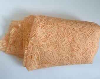 Peach Lace Fabric, Pale Orange Fashion Lace