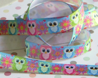 "Owl FOE 5 yards of 5/8"" Fold Over Elastic Bright Colored Owl & Flowers Headband Connectors Clothing Party Favor Ties Pink Green and Blue"