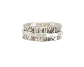 Silver spinner ring, sterling embossed fidget jewelry, worry, bark print, meditation, anxiety, thumb band, statement, gift for her, women