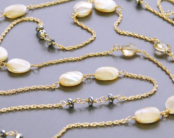 Long Mother Of Pearl, Champagne Quartz Gold Filled Necklace. Long Gemstone Necklace. Mother Of Pearl Necklace