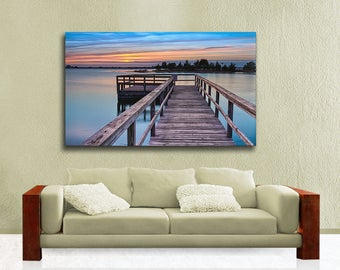 Extra Large Canvas Wrap, Summer Sunset over the Bay from Avalon New Jersey, Dock Photography on Canvas, Ready to Hang Wall Art, Blue, Orange