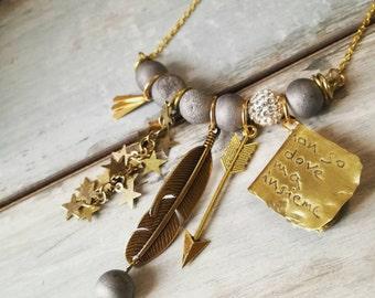 Druzy agate necklace, boho necklace, charm necklace, gipsy necklace, name necklace, dedicated necklace, Statement necklace