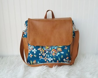 Navy floral 2-in-1 Convertible Backpack Diaper Bag