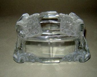 ANTIQUE Old Art Deco Bohemia CUT CRYSTAL Glass Jewelry Trinket Box Container
