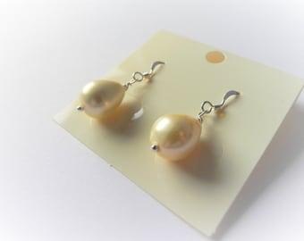 Lemon shell pearl drop sterling silver earrings