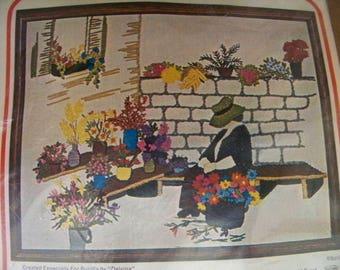 Bucilla Crewel Embroidery Kit Flower Vendor