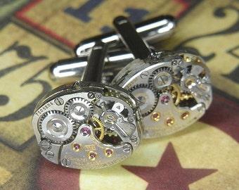 Luxury Watch Cufflinks Cuff Links - LONGINES Steampunk TORCH SOLDERED - Elegant Silver Oval Movements - Birthday Wedding Anniversary Gift