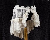 Bustle skirt bridal lace, ivory romantic skirt, cottage chic, victorian, Somnia Romantica, size L  - XL see item details for measurements