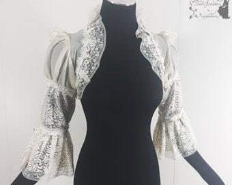Wedding bolero, art nouveau, chantilly lace, beige ivory, Somnia Romantica, approx size small - medium see item details for measurements