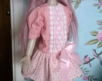 Pink dress and Beret Hat