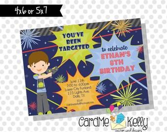 Printable Boy Laser Tag Fun World Birthday Party Invitation - Digital File
