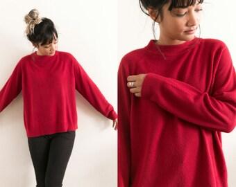 Vintage Red Mock Neck Sweater / Long Sleeve Mock Neck Shirt / Soft Mock Neck / Soft Red Turtleneck Sweater / Oversized 90s Grunge Slouchy