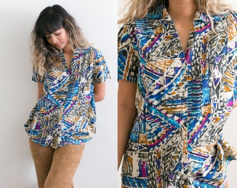 Vintage Colorful Tribal Button Up Shirt / All Over Print Blouse / Abstract Print Button Up / Ethnic V Neck Multicolor Collared Short Sleeve