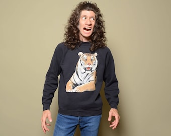 vintage 80s 90s tiger sweatshirt big cat jumper 1980 1990 M/L animal sweatshirt