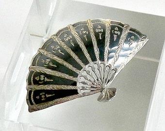 Silver Nielloware Fan Brooch, Vintage Siam Niello Brooch, Sterling Silver Fan Brooch.