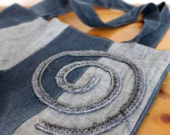Upcycled Denim Tote with Swirl Detail