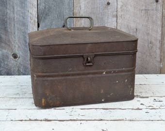 Vintage Acme Metal Lunch Box Miners Railroad Hinged Lid Latch Rusty Aged Patina Storage Box Large Tin Rustic Primitive Industrial