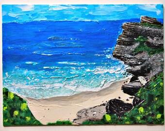 ocean painting, beach artwork, acrylic painting, landscape painting, ocean waves, original paintings, small paintings