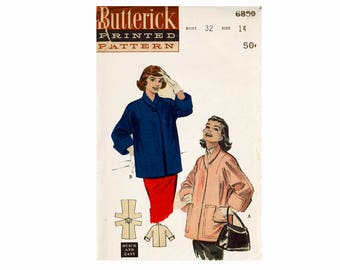 1950s Coat Topper Vintage Sewing Pattern UNCUT Vintage Jacket Quick & Easy Size 14 Bust 32 Butterick 6850