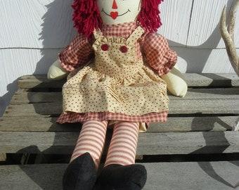 Rustic Vintage • Handmade Raggedy Ann Doll | Cabin Country Farm Folk Farmhouse Shabby Chic Americana | Made in USA