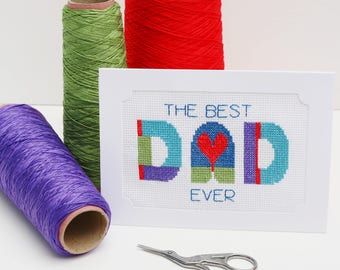 Cross Stitch Fathers Day Card Kit, DIY Card for Dad, Geometric, Best Dad Ever, DIY greetings card. DIY Fathers Day Card