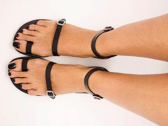 Toe Ring Sandals, Leather Sandals, Simple Sandals, Strappy Sandals, Greek Sandals, Women Sandals, Handmade Sandals, Leather Shoes -  BREEZE