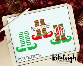 Elf Feet Monogram Frames INSTANT DOWNLOAD in .dxf, .svg, .eps for use with programs such as Silhouette Studio and Cricut Design Space