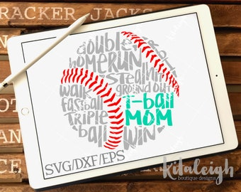 Messy T-ball Mom INSTANT DOWNLOAD in dxf, svg, eps for use with programs such as Silhouette Studio and Cricut Design Space
