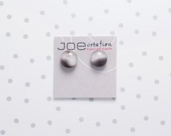 Boucles d'oreilles rondes en verre fusionné et acier inoxydable gris rosé marbré noir
