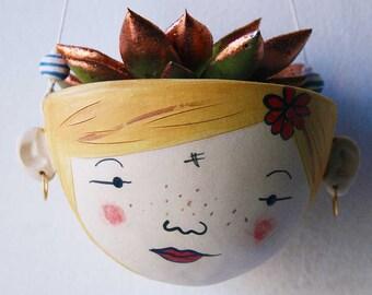 Succulent or cactus hanging planter-ceramic pot with face-quirky plant pot-Bea-housewarming gift