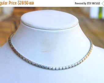 SPRING SALE Vintage Signed Mimi Di N 1975 Silver Omega Collar Necklace