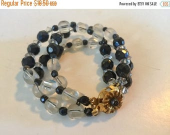 MASSIVE CLEARANCE Pretty Gold Tone Metal Black Glass and Clear Crystal Three Strand Bracelet