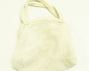 SAVE NOW Vintage Off White Ivory Purse Handbag by Corde Bead Plastic Beaded Wedding Party Prom