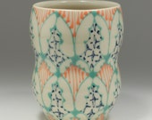 Ceramic Tumbler - Juice Cup, Yunomi - Handmade with Bright Jade, Melon and Navy Pattern