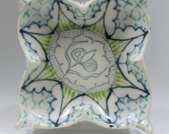 Small Flower Plate - Ceramic - Navy, Kiwi and Turquoise Pattern