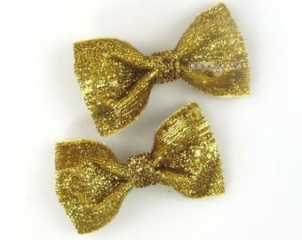"Gold Glitter Hair Clips, gold hair bows, gold hairbow 2.5"" pair of glitter hair bows, baby hair bows, girls hair clips, infant toddler pair"