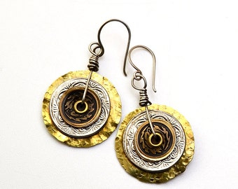 Recycled Metal Button Earrings Brass Sterling Silver