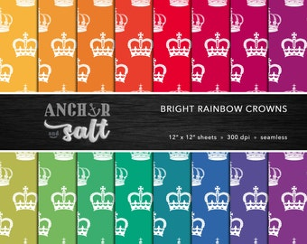 Bright Rainbow Crowns Digital Paper Set -- Royal Crown, British, Colorful, Vibrant, Jewel, Scrapbook, Seamless -- Personal or Commercial Use