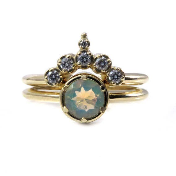 Ethiopian Opal Solitaire Engagement Ring with Pointed Diamond Half Circle Wedding Band - 14k Yellow Gold