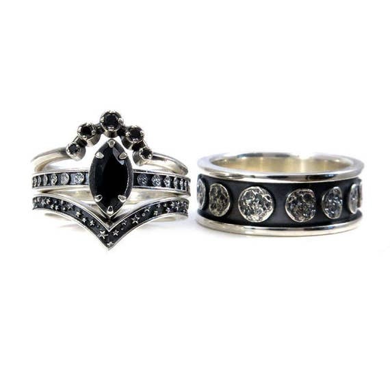 Black Silver Moon Phase Engagement Ring Set - His and Hers - Marquise Solitaire