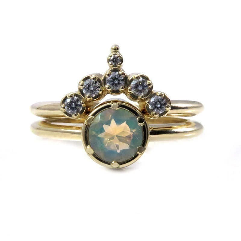 Ethiopian Opal Solitaire Engagement Ring With Pointed Diamond