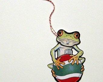 Tree Frog Jointed Gift Tag or Christmas Ornament, Mini Rainforest Animal Paper Doll