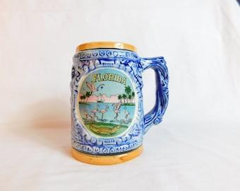 Vintage Florida Souvenir Mug Blue and Yellow with Pink Flamingos, Croc, and Sailboat Box CB3