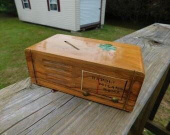 Vintage Wood Wooden Souvenir Radio Shape Bank From Napoli Milano Roma   box i