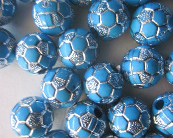 10mm Blue and Silver Round Acrylic Beads 20 Beads