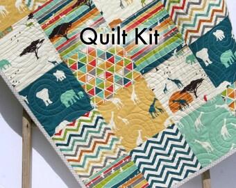 Quilt Kit Serengeti Safari Animals Quilting Kit Sewing Project Patchwork Quilt Kit Boy or Girl Crib Blanket Birch Organic Fabrics Modern Kit
