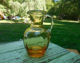 Vintage 1950s to 1970s Retro Yellow Tiny Pitcher Blown Glass Topaz Colored Home Decor Small