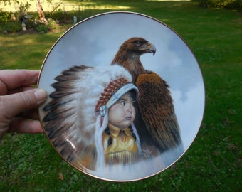 """Vintage 1980s Artaffects Made in USA """"Protector of the Plains"""" Indian Boy with Headress Porcelain Bird of Prey Collector Plate Young Spirits"""