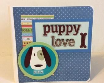 Dog scrapbook  puppy mini album premade pages Chipboard Album Family Pet Brag Book